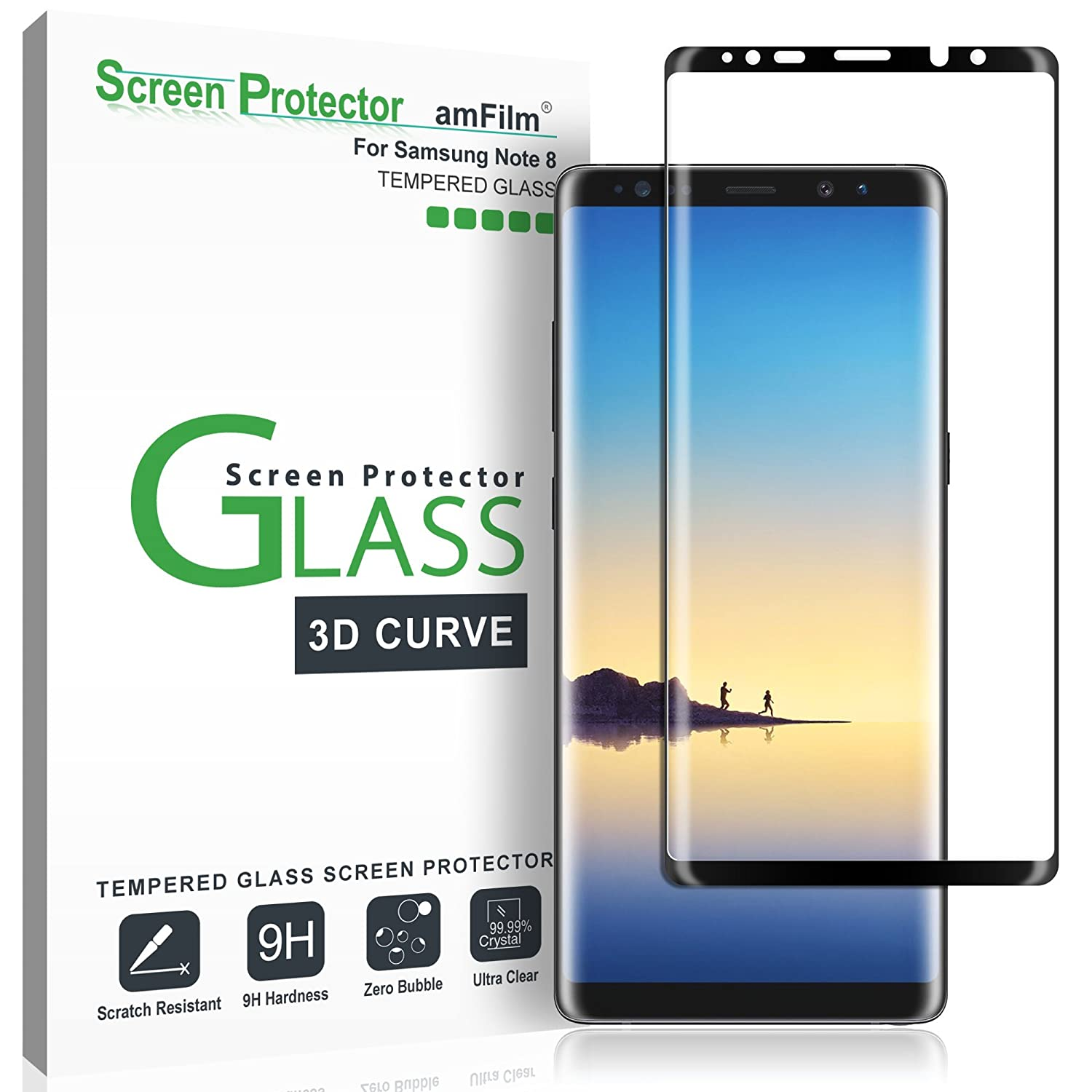 amFilm Glass Screen Protector for Samsung Galaxy Note 8, Full Screen  Coverage, 3D Curved Tempered Glass, Dot Matrix with Easy Installation Tray
