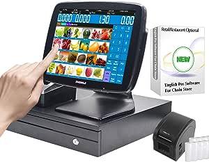 ZHONGJI A3 - Caja registradora para pequeñas empresas con software para restaurantes o minoristas, color SET07 4G-RAM 64G-SSD: Amazon.es: Oficina y papelería