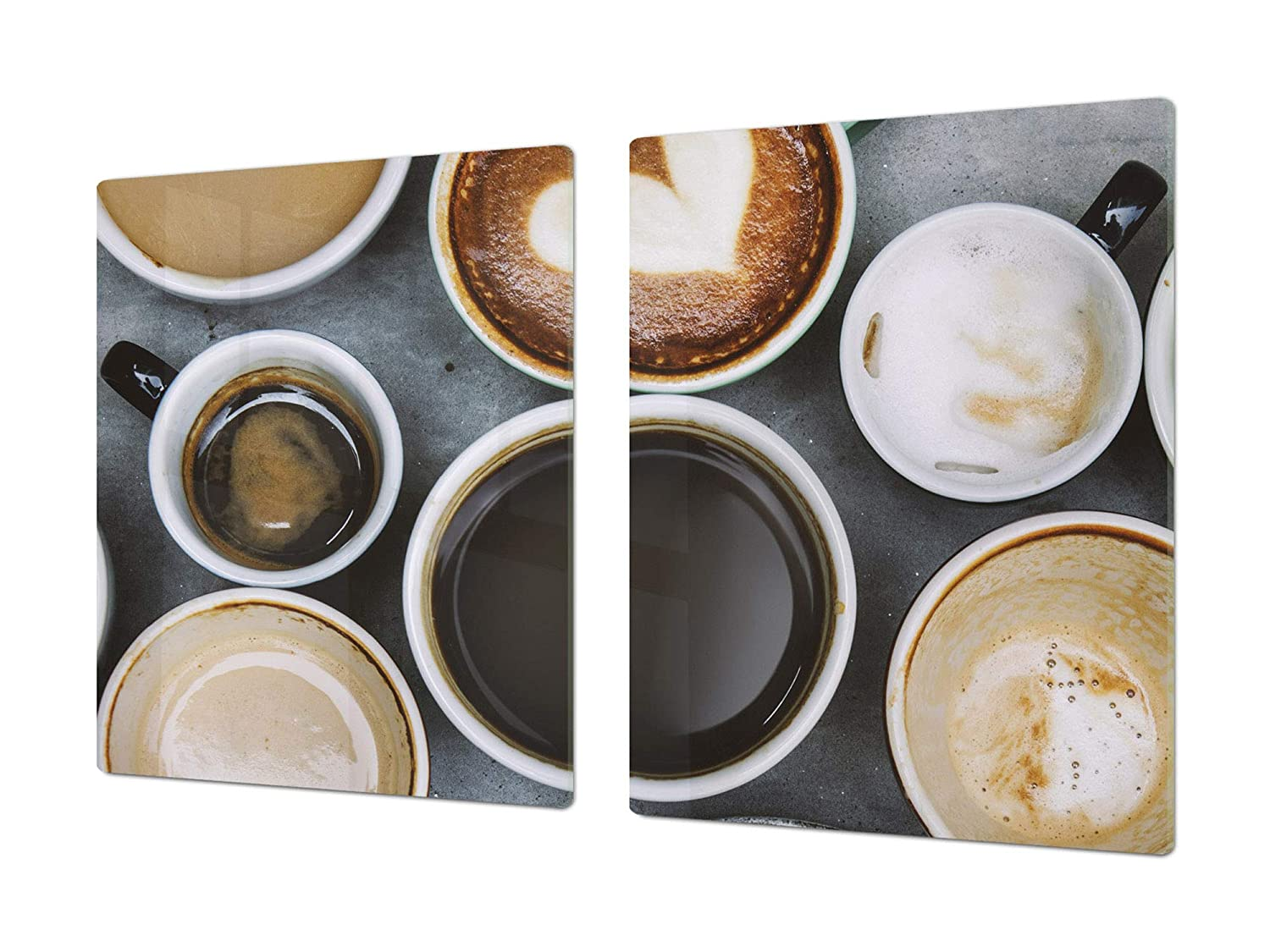 Coffee 5 2x40x52 HUGE Cutting Board – Worktop saver and Pastry Board – Scratch & Shatter Resistant Glass Kitchen Board; MEASURES  SINGLE  80 x 52 cm (31,5  x 20,47 ); DOUBLE  40 x 52 cm (15,75  x 20,47 ); Coffee series DD07