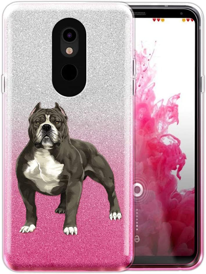 FINCIBO Case Compatible with LG Stylo 5, Shiny Sparkling Silver Pink Gradient 2 Tone Glitter TPU Protector Cover Case for LG Stylo 5 - Standing American Pitbull Terrier Dog
