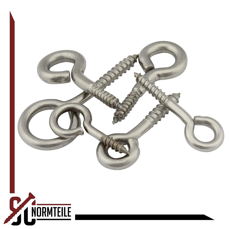 3,5 x 20 mm - SC9079 5 St/ück SC-Normteile/® - Ringschrauben - /Ösenschrauben mit Holzgewinde - aus Edelstahl A2 V2A Gewindel/änge: 13 mm