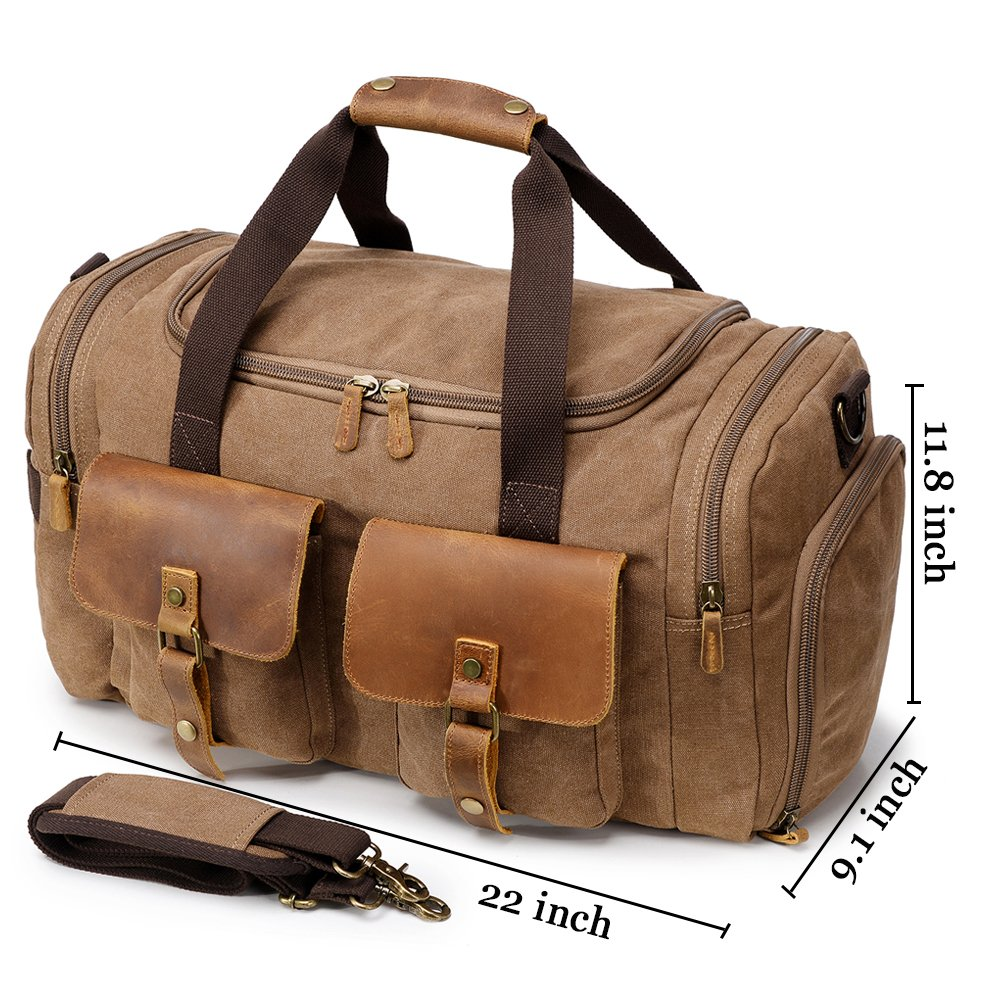 Kemy s Canvas Duffle Bag Oversized Genuine Leather Weekend Bags for Men and  Women ab9614929b800