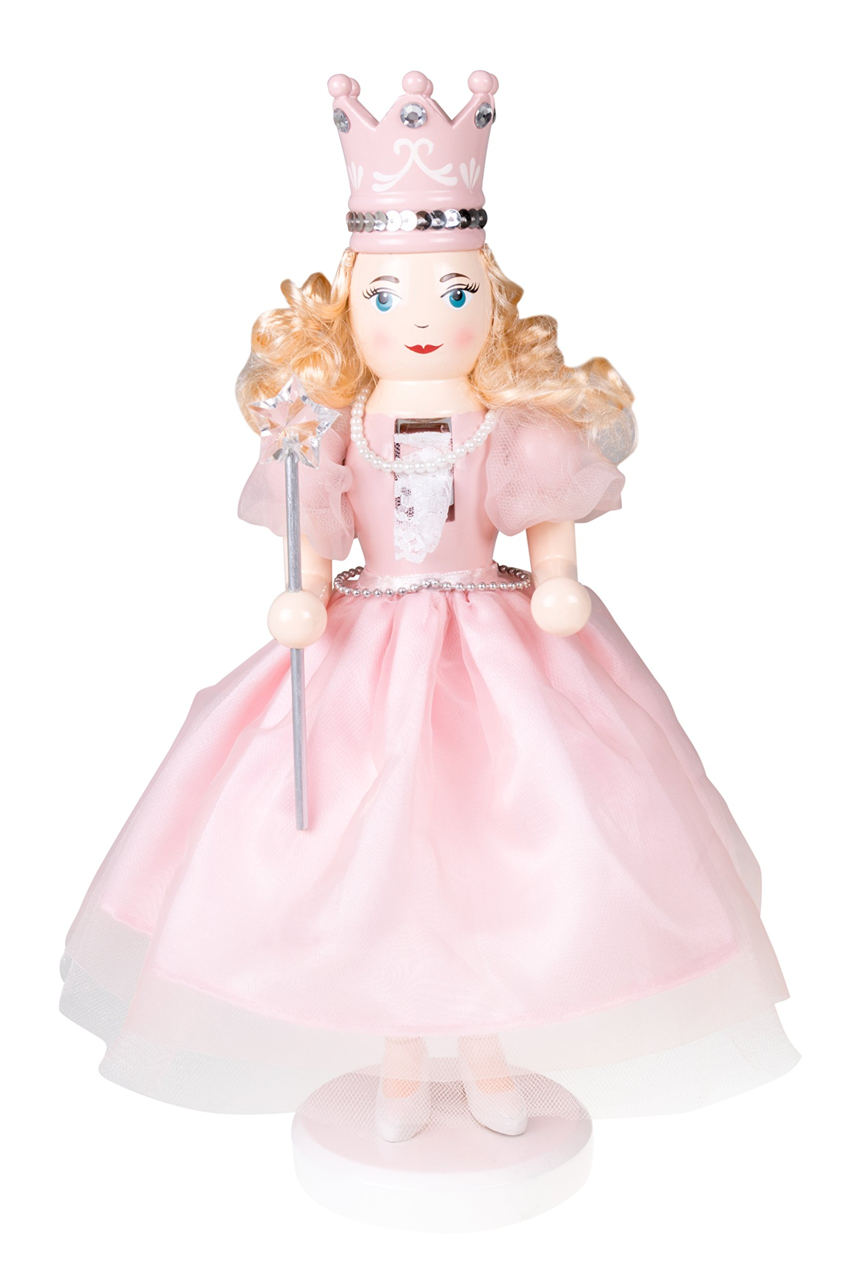 Clever Creations Sugar Plum Fairy Wooden Nutcracker Wearing Pink Dress, Pearl Necklace, Crown | Holding Star Fairy Wand | Festive Decor | Perfect for Shelves & Tables | 100% Wood