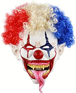 Novelty Clown Mask Scary Latex Mask Halloween Decoration Props Costume Party Cosplay for Mens Women and Kids