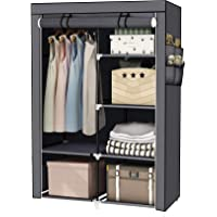 YOUUD 43 Inches Wardrobe Storage Closet Portable Closet Storage Organizer with Non-Woven or Oxford Cloth Fabric and Hanging Rod, Quick and Easy to Assemble