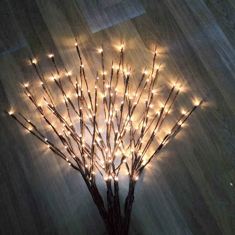 4PACK-Twig Branche 27.56in 20 LED Lights Velidy Branches Battery Powered Decorative Lights Tall Vase Filler Willow Twig Lighted Branch for Home Decoration Warm White