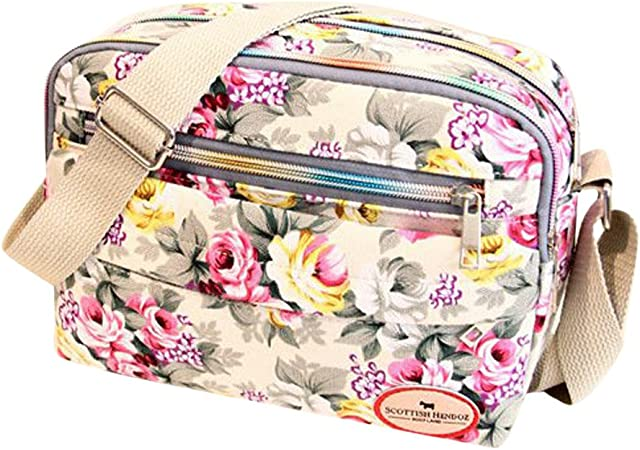 Summer Handbags Women Shoulder Bags Nylon Flower Printing Small Crossbody Mini