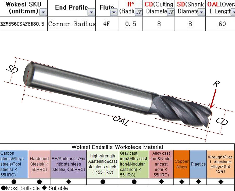 RedLine Tools 11 Flute 1.7500 LOC .0600 Radius RFZ11203 Single End Corner Radius Carbide End Mill AlCrNX Coated .5000 1//2 Round Shank Type 4.0000 OAL