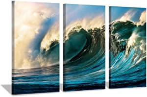 """Ocean Wave Pictures Wall Decor: Navy Blue Waves Sunset Seascape Artwork Print on Canvas Wall Art Living Rooms Office (16""""x26""""x3pcs)"""
