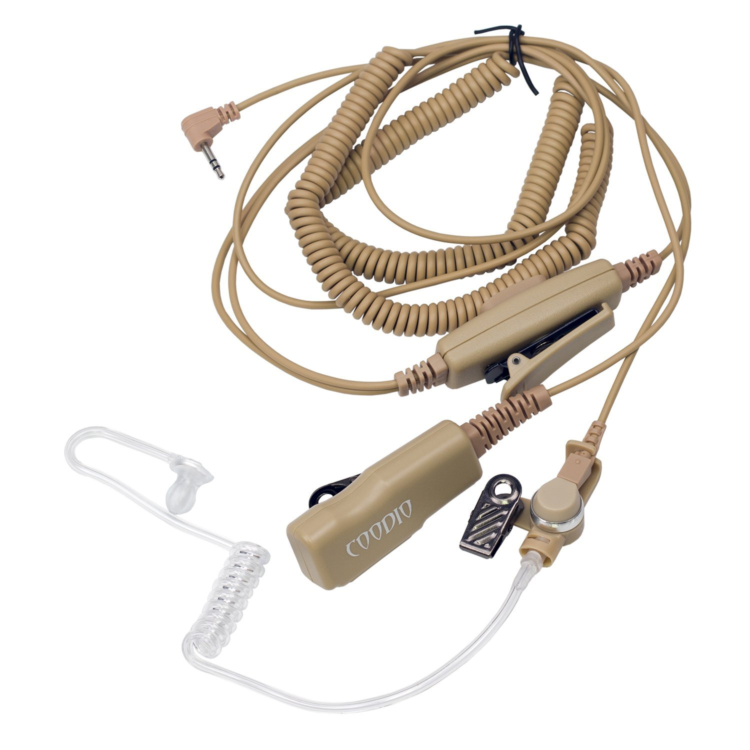 Covert Acoustic Tube Mic Microphone for 1 Pin Motorola Talkabout 2 Way Radio Walkie Talkie Double PTT Bodyguard FBI Beige Coodio Superior Surveillance Earpiece Security Headset