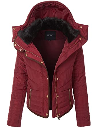 207582422 LE3NO Womens Basic Fully Lined Quilted Puffer Jacket with Pockets at ...