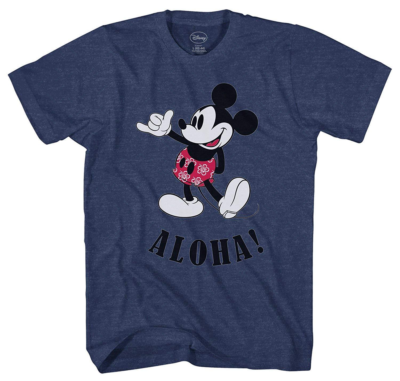 43d9dff9 Disney Mickey Mouse Hawaii Aloha Mickey Men's T-Shirt (X-Large) Navy Heather
