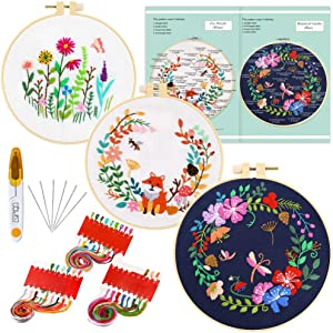Caydo 3 Sets Embroidery Starter Kit with Pattern and Instructions, 3 Plastic Embroidery Hoops, Embroidery Clothes, Color Threads and Tools