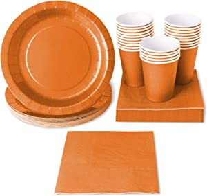 Disposable Dinnerware Set - 24-Set Paper Tableware - Dinner Party Supplies for 24 Guests, Including Paper Plates, Napkins and Cups, Neon Orange