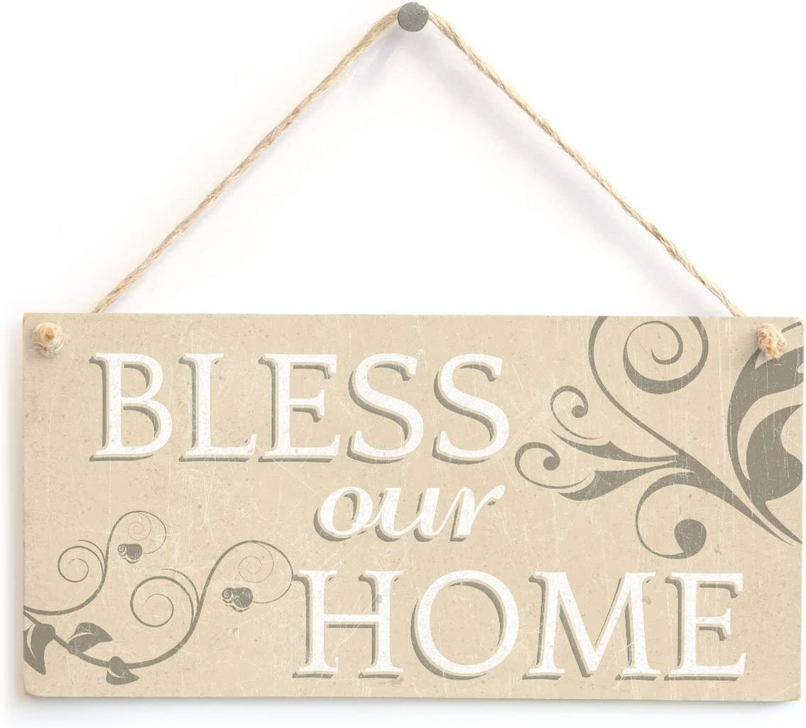 """Meijiafei Bless Our Home - Vintage PVC Sign Spiritual Religious Hanging Plaque 10""""x5"""""""