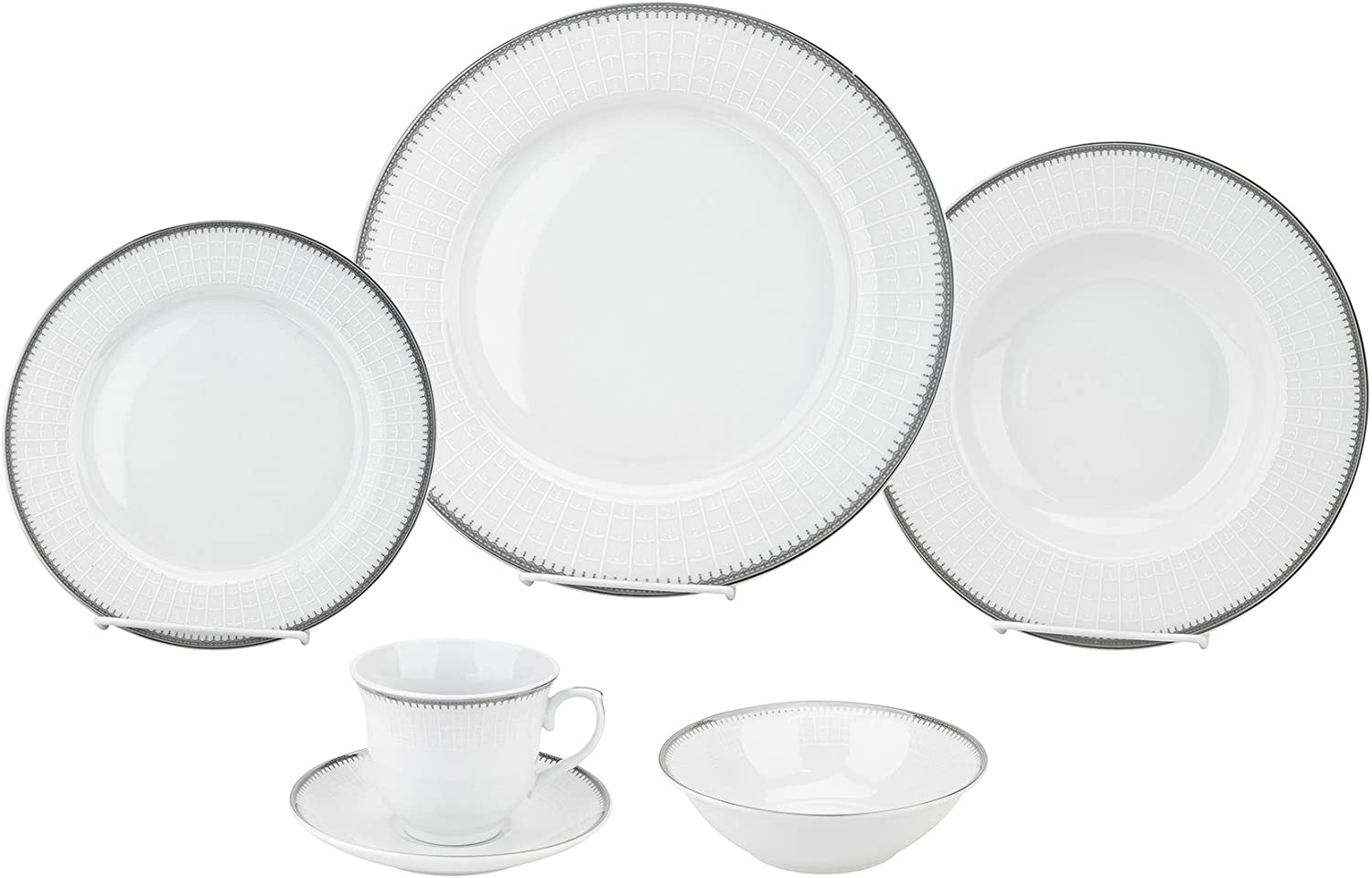 Porcelain Dinnerware Set, 24-Piece Service For 4 by Lorren Home Trends/Alyssa Design: Dinner Plates, Soup Bowls, Salad Plates, Coffee Cups with Saucers, Fruit Bowls