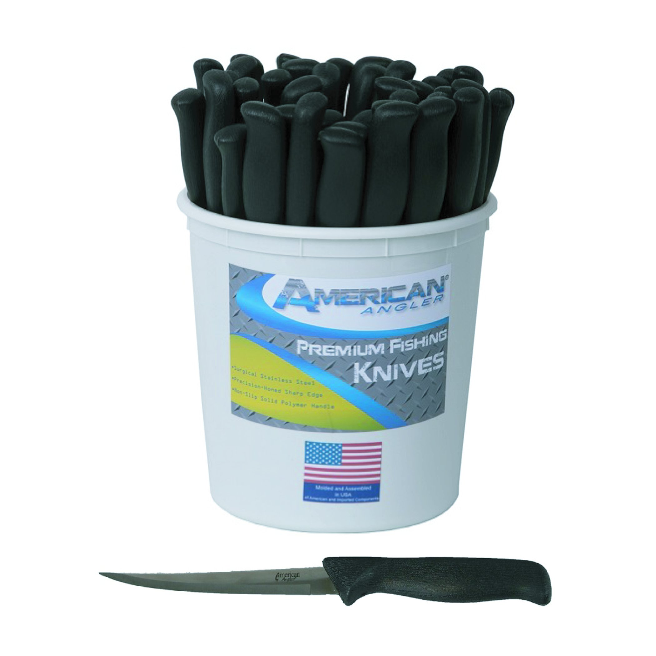 American Angler Fillet Pail Knife (45 Piece), Black, 6'' by American Angler