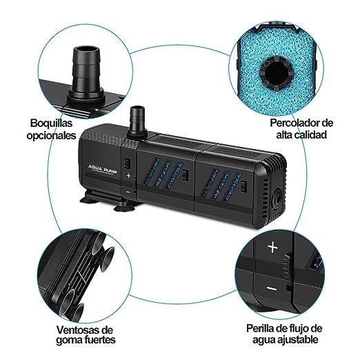 Bomba Sumergible 1500L/H 15W Bomba de Filtración Ultra Silencioso Bomba de Agua para Pecera, Acuario, Jardín, Estanque, Fuente, Extraíble Bomba de Flujo ...