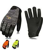 Vgo 3 Pairs High Dexterity Touchscreen PU Leather Work Gloves Multipurpose(Grey,Fluorescent Pigment Orange,Fluorescent Green,Size L, PU8718)