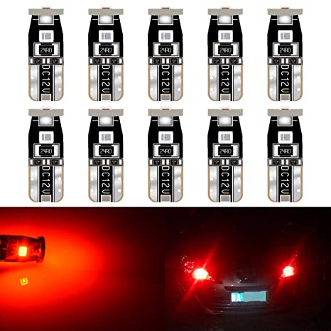 T10 194 168 501 W5W RED AUTO INTERIOR DOME WEDGE LIGHT BULB//BULBS w// 4 X 3MM LED