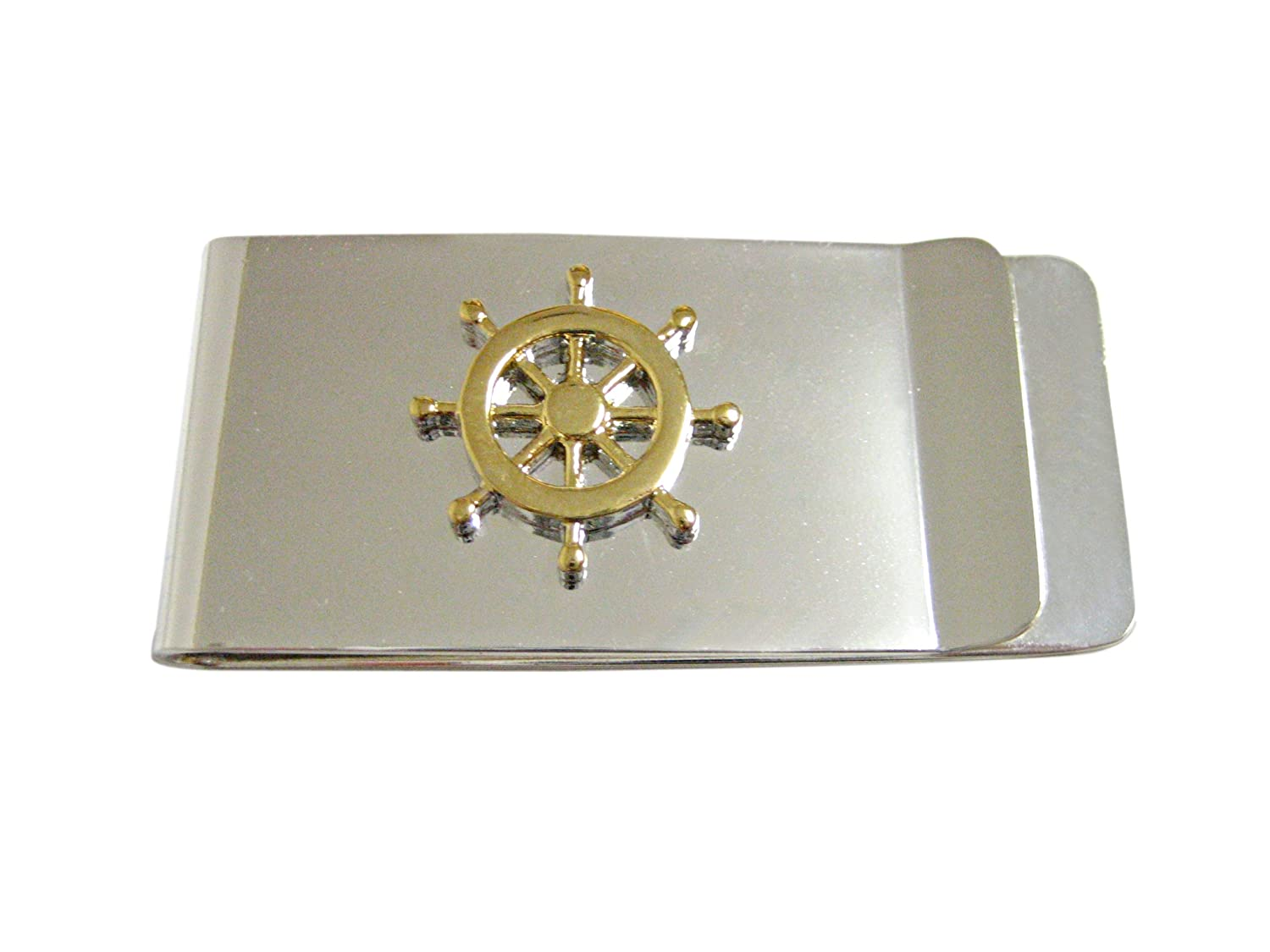 Gold Toned Nautical Steering Helm Money Clip