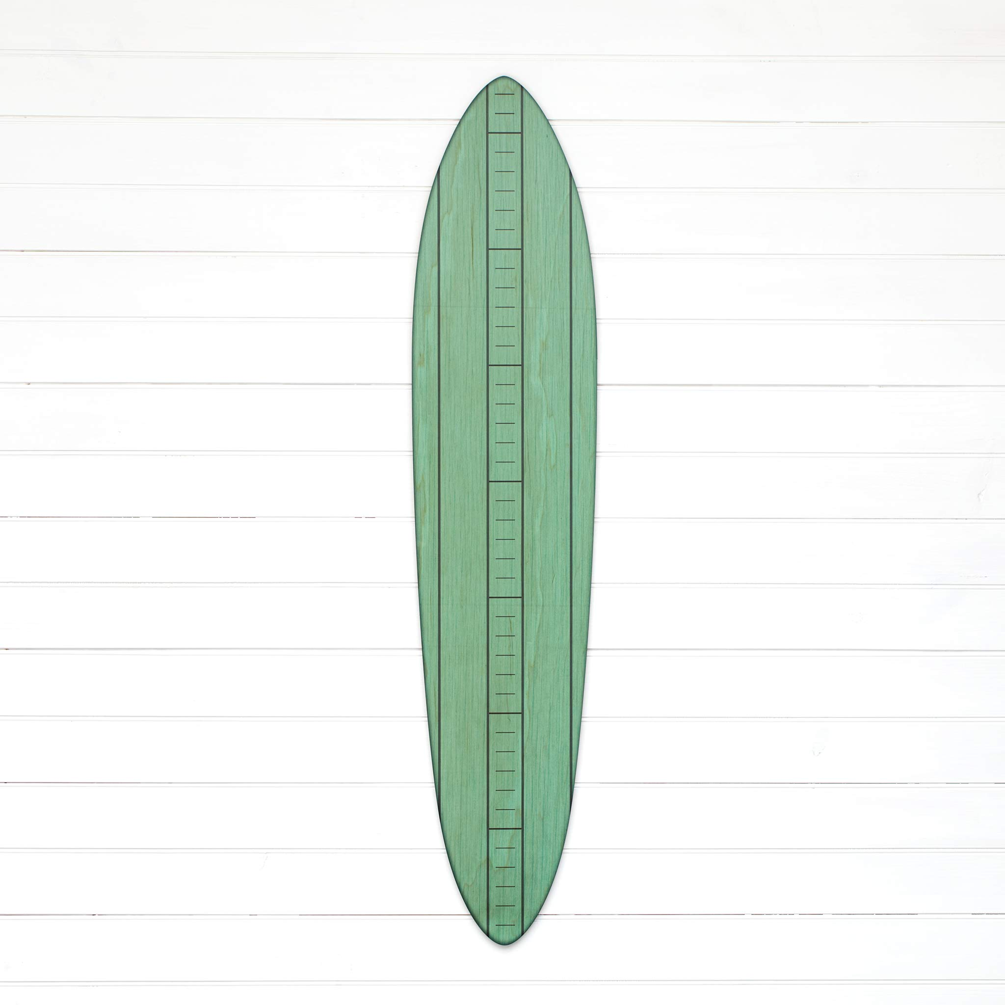 Vintage Wooden Surfboard Growth Chart | Wood Height Chart for Boys, Girls & Kids (Teal) by Growth Chart Art