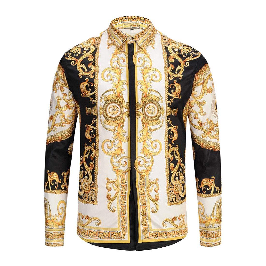 Vska Mens Button Down Vingtage Long-Sleeve Turn-Down Collar Printed Shirts