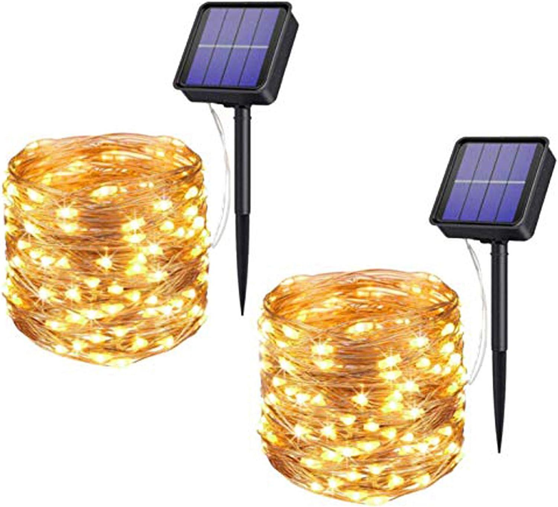 Xmifer 2 Pack Solar Fairy Lights, 200 LED Outdoor Solar String Lights Garden Copper Wire Decorative Lights 66Ft Waterproof Indoor Outdoor Lighting for Garden, Patio, Yard, Christmas