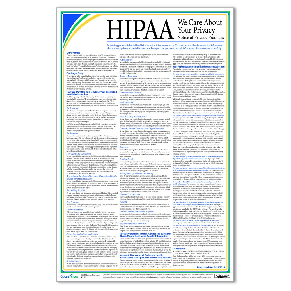 ComplyRight HIPAA Notice of Privacy Practices Poster by ComplyRight