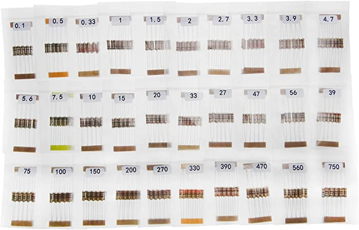 300Pcs 1W 0.1Ω-750Ω Carbon Resistor Component Assorted Kit Assortment Set