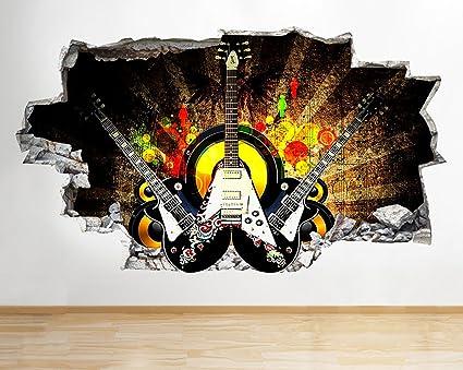 tekkdesigns C277 Guitarra eléctrica música Rock Smashed Adhesivo Pared 3D Arte Pegatinas Vinilo habitación