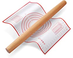 Rolling Pin, QUELLANCE Wood French Roller Pin with Silicone Baking Mat, Beech Wood Dough Roller for Baking Dough, Pizza, Pie,