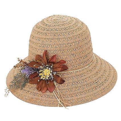 Sombreros de Vestir para Mujer, MINXINWY Sombrero de Paja Elegante ...