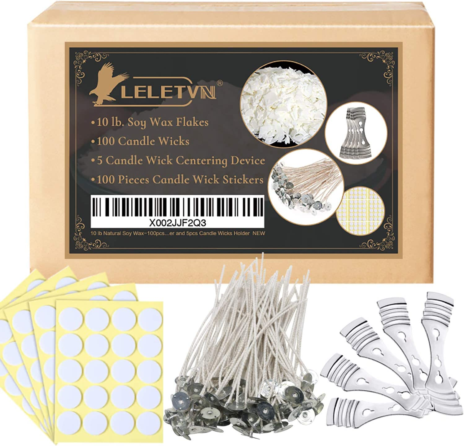 LELETVN Candle Making Supplies CMK1910 Include 10LB Natural Soy Wax /& 100pcs Candle Wicks /& 100pcs Candle Wick Stickers /& 5pcs Candle Wick Centering Device Candle Making Kit for Adults