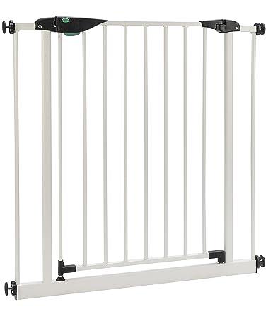 ? BOMI® Baby Schutzgitter Treppe Mira 63-222 cm | Gittertür aus Metall weiss | Stabile Baby Schutzgitter Tür für Kindersicher