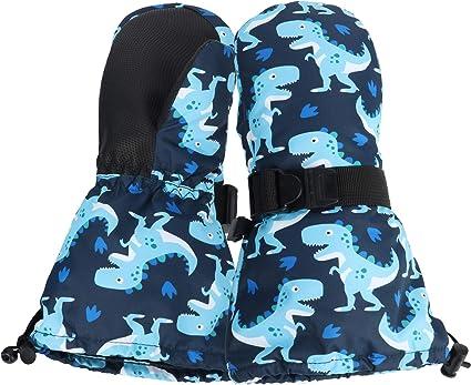 Toddler Kids Winter Warm Ski Snow Mittens for Boys Girls Waterproof with Zipper