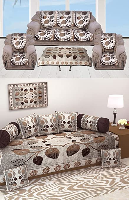 Ab Home Decor Diwan Set Of 8 Pieces Combo With Sofa Covers For