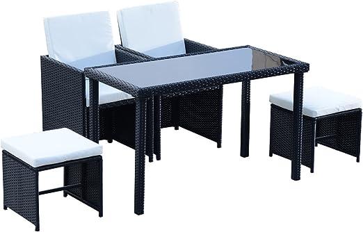 Tavoli Da Giardino In Midollino.Outsunny Set Mobili Da Giardino Rattan 5 Pezzi Tavolo 2 Sedie 2