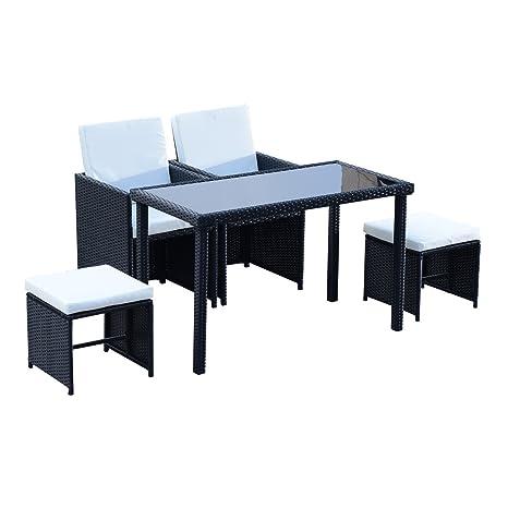 Mobili Per Giardino In Rattan.Outsunny Set Mobili Da Giardino Rattan 5 Pezzi Tavolo 2 Sedie 2 Poggiapiedi Con Cuscini Combinabili A Rettangolo