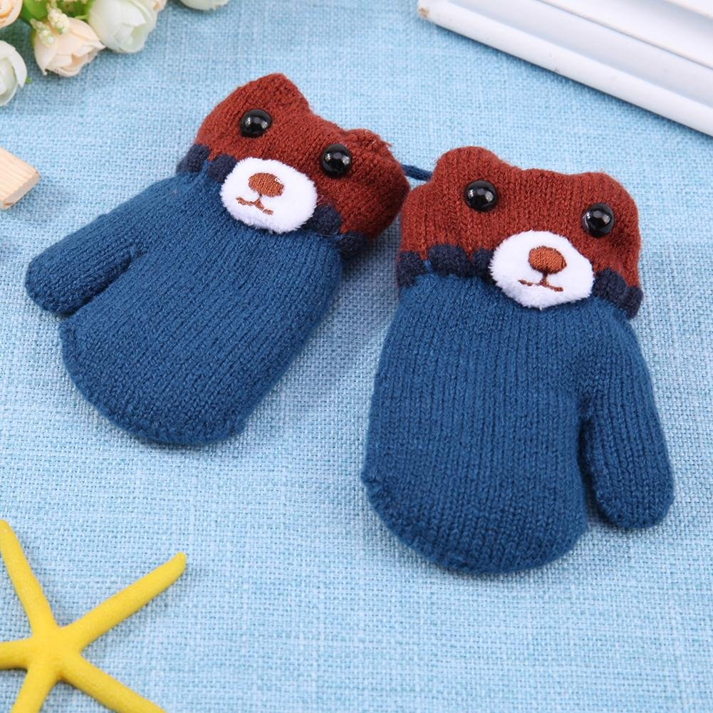 Chinatera Baby Girls Boys Cute Bear Pattern Fleece Knitted Gloves