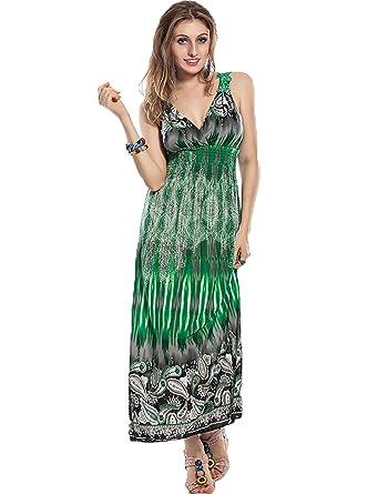 421517415fb Yummy Bee Maxi Dress Plus Size Dresses Long Party Summer Casual Print  Sleeveless 8-18  Amazon.co.uk  Clothing