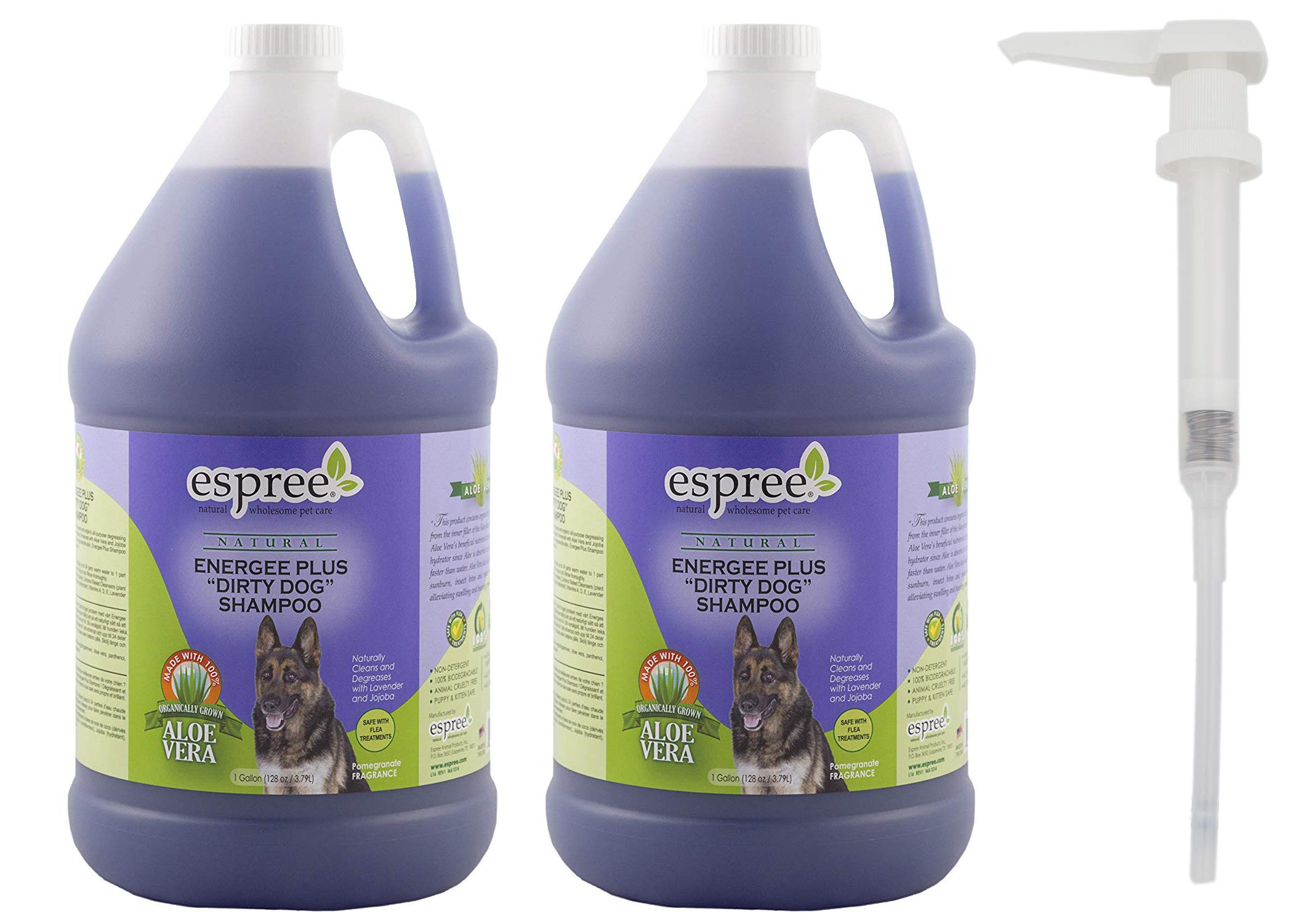 Espree Energee Plus Dirty Dog Shampoo, 1 Gallon, Pack of 2 with 1 Pump