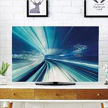 CANCAKA - Funda para televisor LCD, decoración abstracta, diseño de origami curvo gráfico con detalles de colores, naranja, azul, blanco y rojo, diseño de impresión 3D compatible con TV de 65 pulgadas: