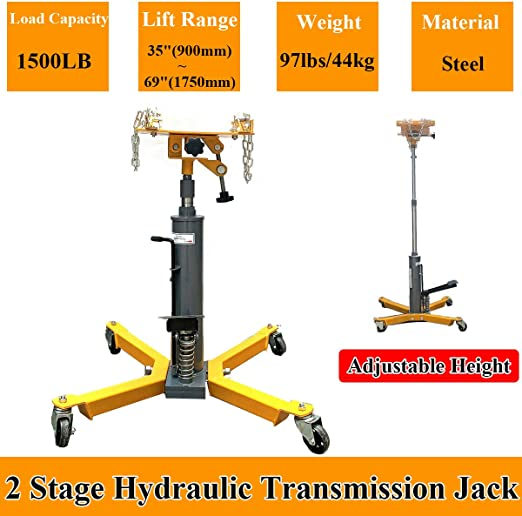 SUDEG 2 Stage 1500LBS Hydraulic Transmission Jack,Adjustable Height with Pedal 360/° Swivel Wheel Lift Hoist Used for Large Vehicles Such As Trucks
