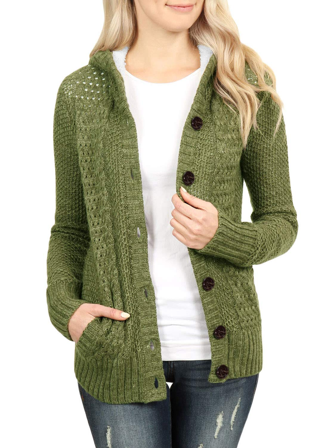 Sidefeel Women Hooded Sweater Cardigans Button Knit Coat Outwear X-Large Amy Green
