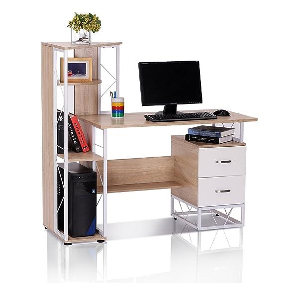 Mesa de Ordenador PC Oficina Despacho Escritorio Estante 133x55x123CM Natural