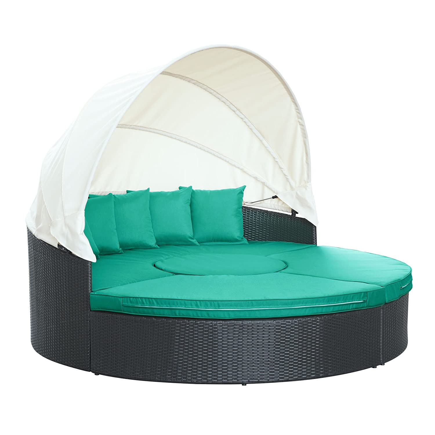 Amazon Modway Quest Circular Outdoor Wicker Rattan Patio Daybed With Canopy In Espresso Turquoise Garden
