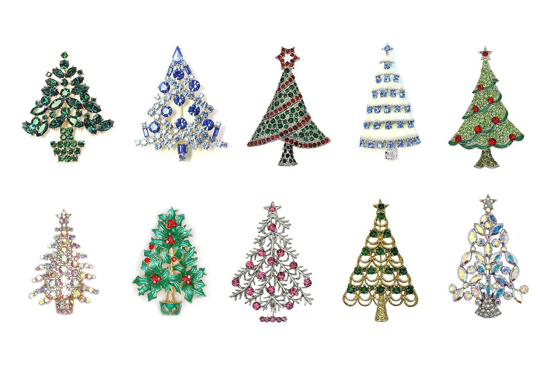 Faship Christmas Tree Pin Brooch Wholesale Lot Bulk 10 Pcs Assortment