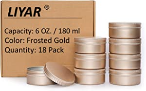 LIYAR 6 Oz Aluminum Metal Tin 18 Pack Can Tins Empty Screw Top Spice Tins Aluminum Containers with Lids(Frosted Gold)