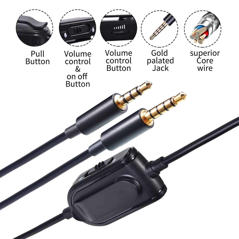 Cable Para Astro A10/a40/a30/a50 Con Control De Volumen Y Microfono / 2 Metros / Compatible Con Xbox One, Ps4